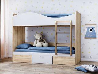 Кровать 2-х ярусная КР-5 с ящиками Дуб Сонома-Белый