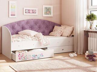 Кровать Эльза с 2 ящиками велюр фиолетовый