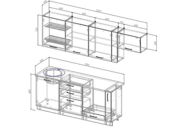 Кухонный гарнитур Антрацит 2550