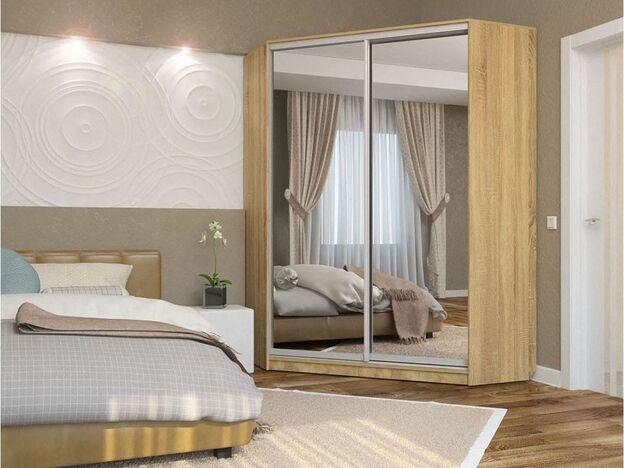 Шкаф-купе угловой Анна Дуб сонома с двумя зеркалами