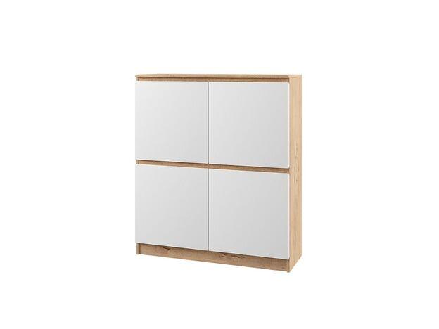 Шкаф-пенал с 4 дверями Марли МШП1000.1 дуб бунрати-белый глянец