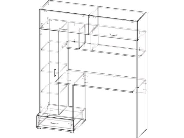 Стол компьютерный ПКС-1 ЛДСП дуб сонома-белый глянец
