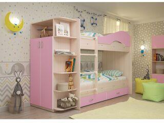 Двухъярусная кровать Мая с ящиками и шкафом дуб млечный-розовый