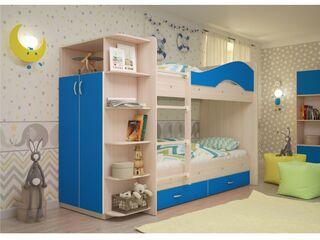 Двухъярусная кровать Мая с ящиками и шкафом дуб млечный-синий