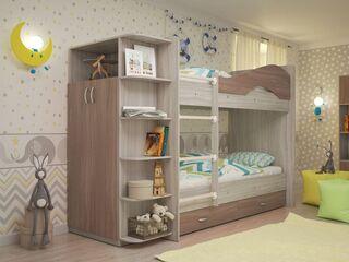 Двухъярусная кровать Мая с ящиками и шкафом Ясень Шимо Светлый-Темный