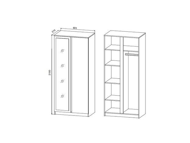 Шкаф 2-х створчатый с зеркалом Марли МШК924.1 дуб бунрати-белый глянец