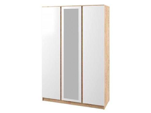 Шкаф 3-х створчатый с зеркалом Марли МШК1400.1 дуб бунрати-белый глянец