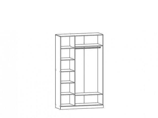 Шкаф 3х-створчатый с зеркалом Жасмин ясень шимо темный-текстура шамони