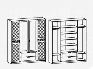 Шкаф 4-х дверный с зеркалами М1 Париж Ясень шимо светлый-силк-тирамису