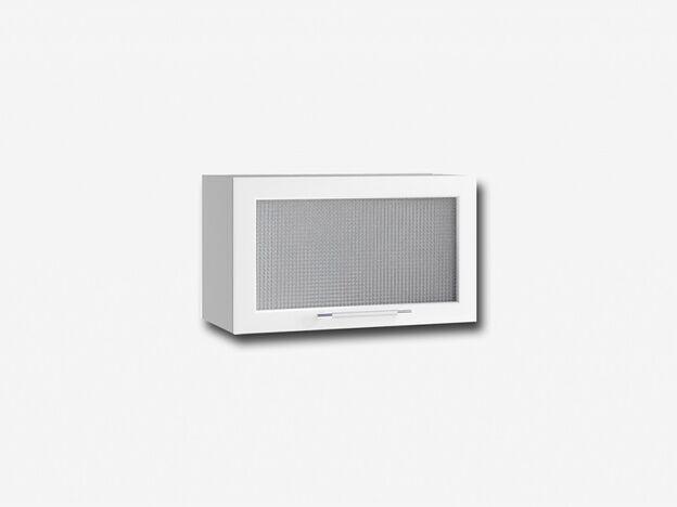 Шкаф навесной горизонтальный со стеклом ПГС600 Капля МДФ белый глянец ШхВхГ 600х350х280 мм