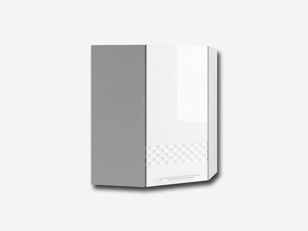 Шкаф навесной угловой ПУ550 Капля МДФ белый глянец ШхВхГ 550х700х550 мм