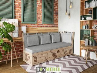 Скамья Роденго со спальным местом ткань серая
