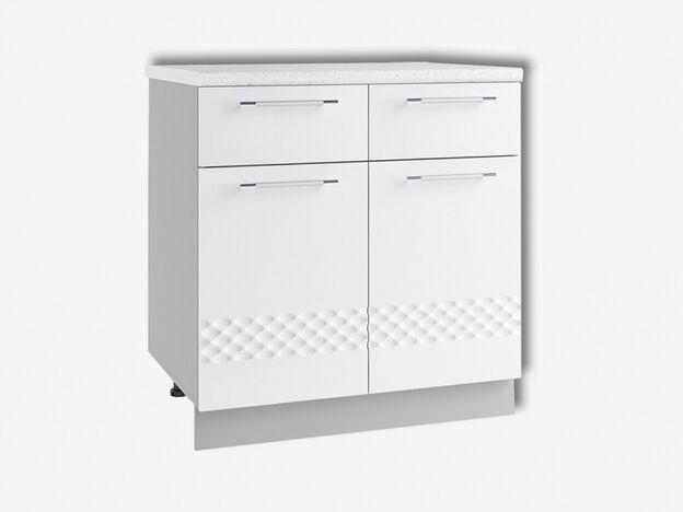 Стол рабочий с 2 ящиками и 2 дверями С2Я800 Капля МДФ белый глянец ШхВхГ 800х850х500 мм