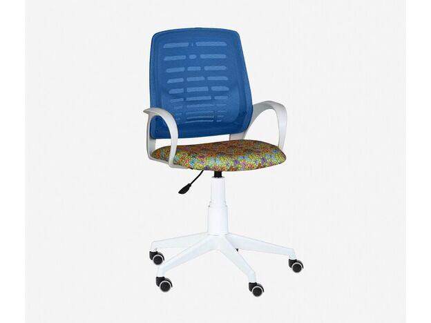 Кресло детское Ирис White сетка W-05 синяя-Т52 бабочки на желтом