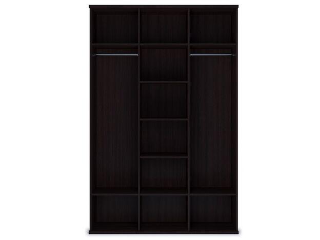 Шкаф 3-х дверный с зеркалом Парма венге-экокожа кайман темный