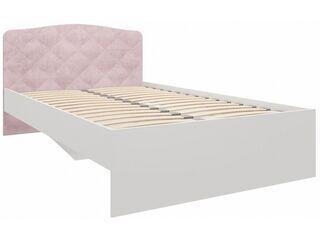 Кровать 1200 с мягкой спинкой Сказка велюр розовый ПМ-332.02 исп.3