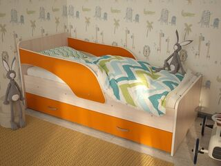Кровать Максимка с ящиком дуб млечный-оранжевый